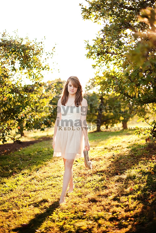 vintage inspired senior session at an orchard
