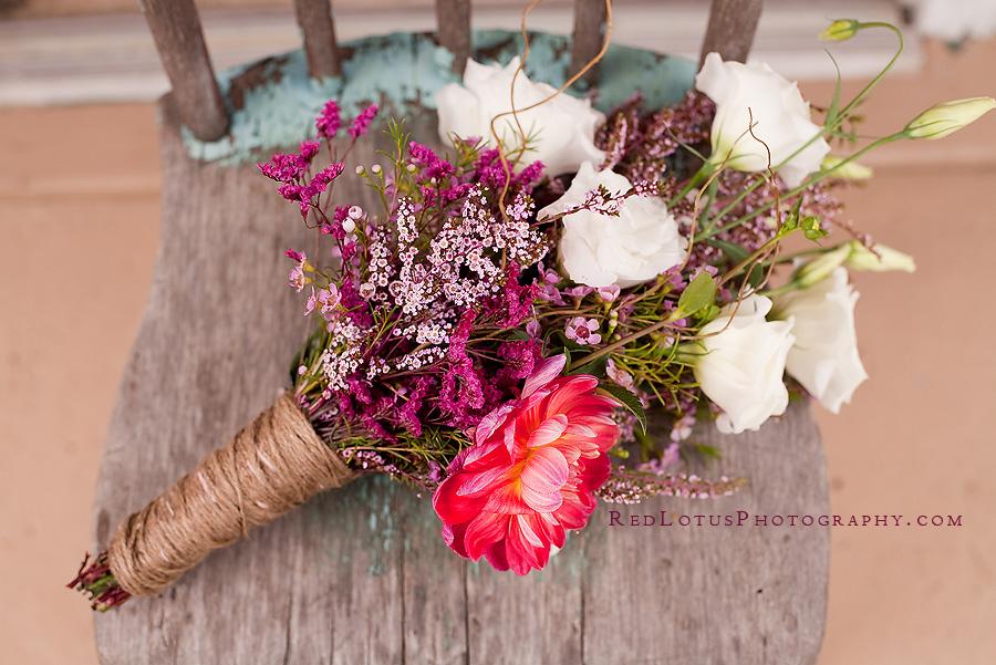 wildflower wedding bouquet with twine stem wrap