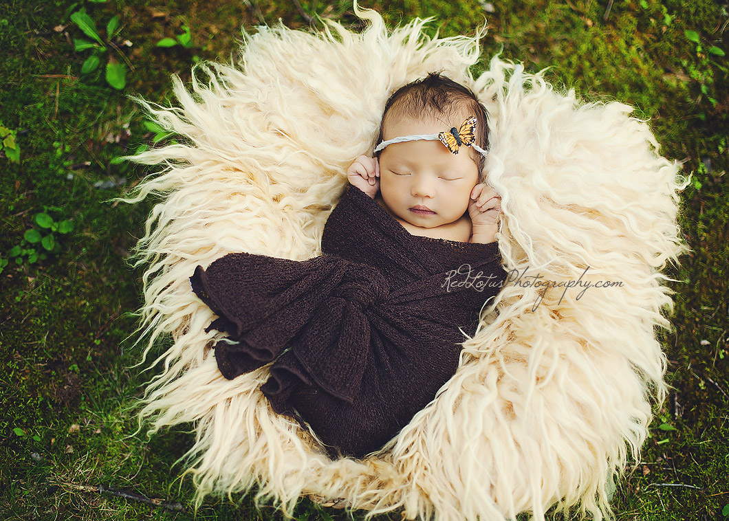 newborn outdoor photo with moss