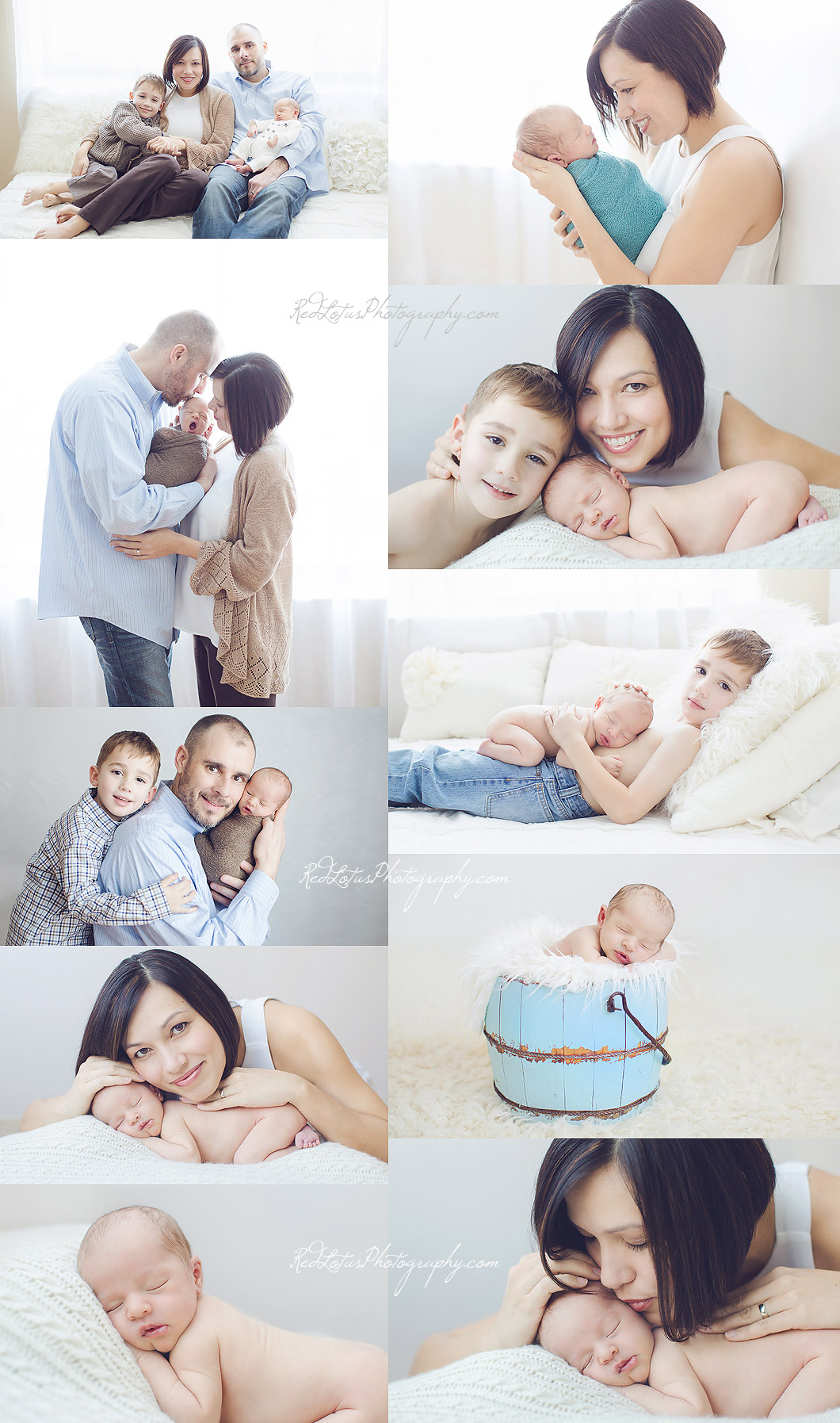 newborn photos with sibling and family in a Pittsburgh photography studio