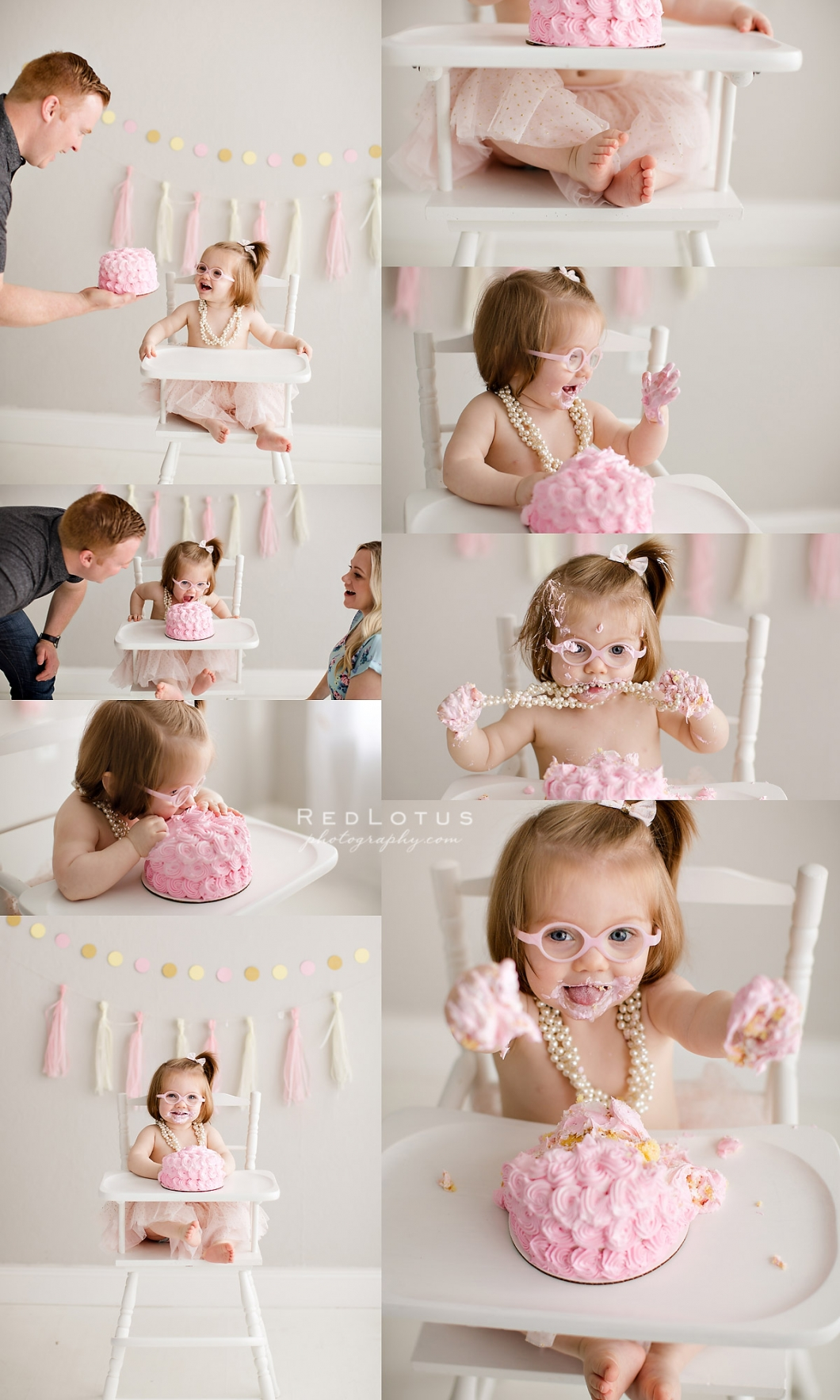 cake smash photo session girl pink glasses pearls
